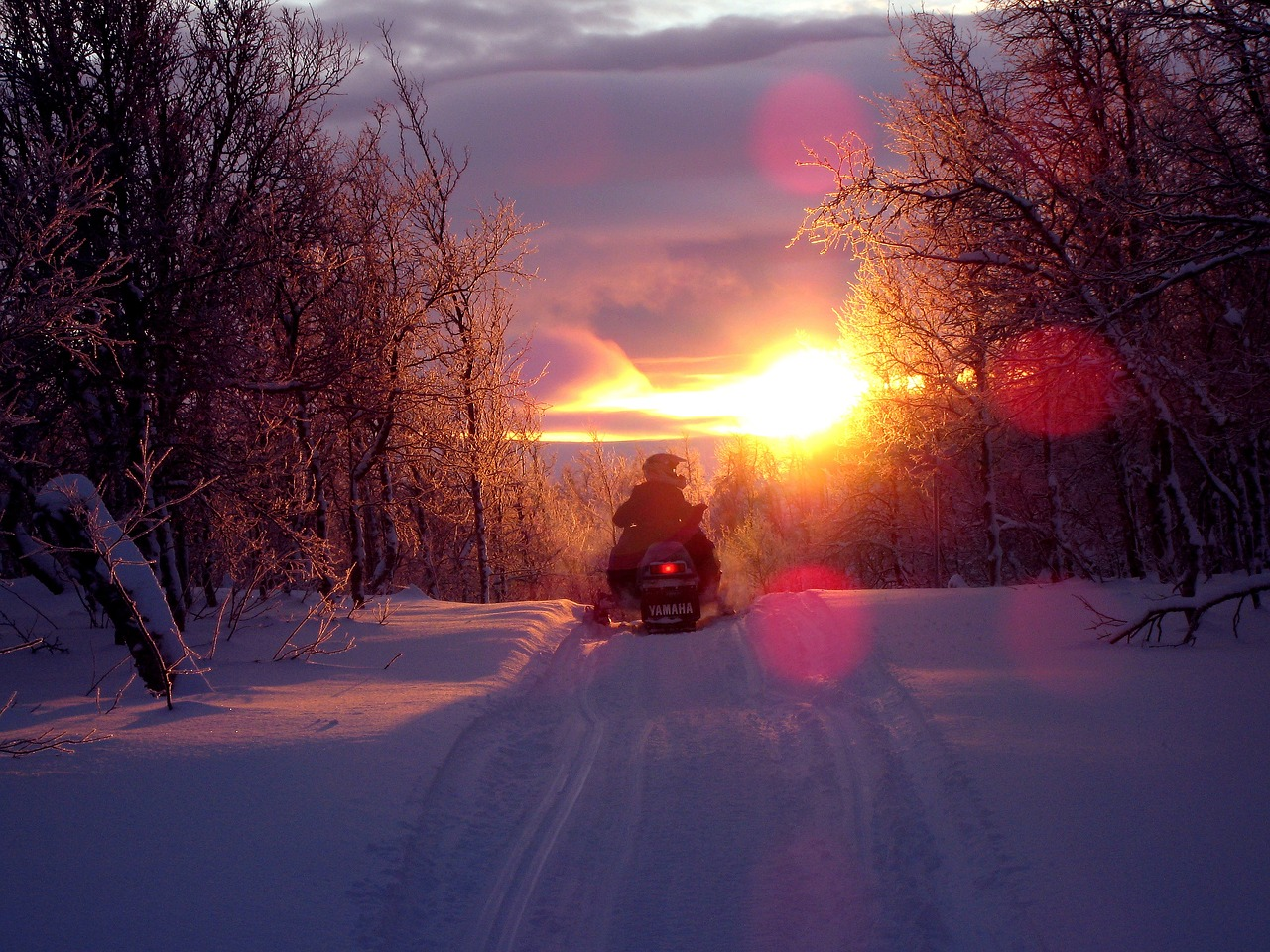 sunset scooter snowmobile free photo
