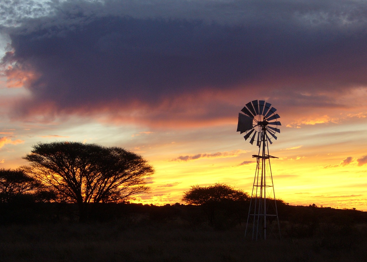 sunset wind mill africa free photo