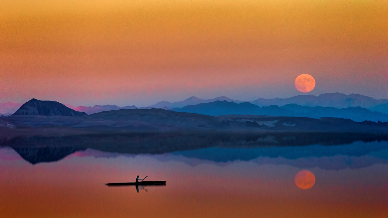 sunset,dawn,dusk,evening,moon,blue,orange,lake,mountains,sky,abendstimmung,evening sky,romantic,rowing boat,rower,quiet,silhouette,full moon,atmosphere,afterglow,romance,mood,water,romantic mood,free pictures, free photos, free images, royalty free, free illustrations