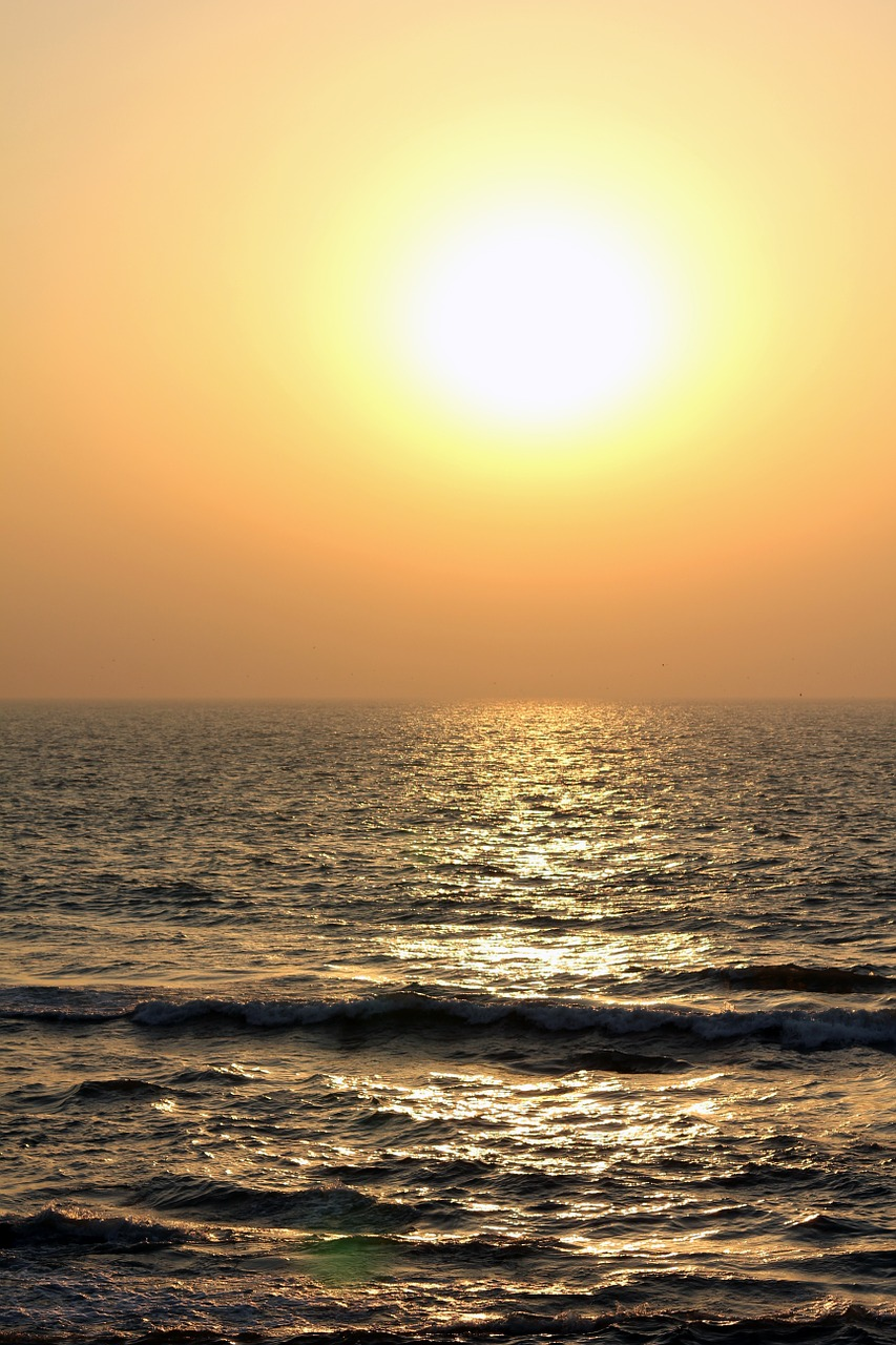 sunset sea waves free photo