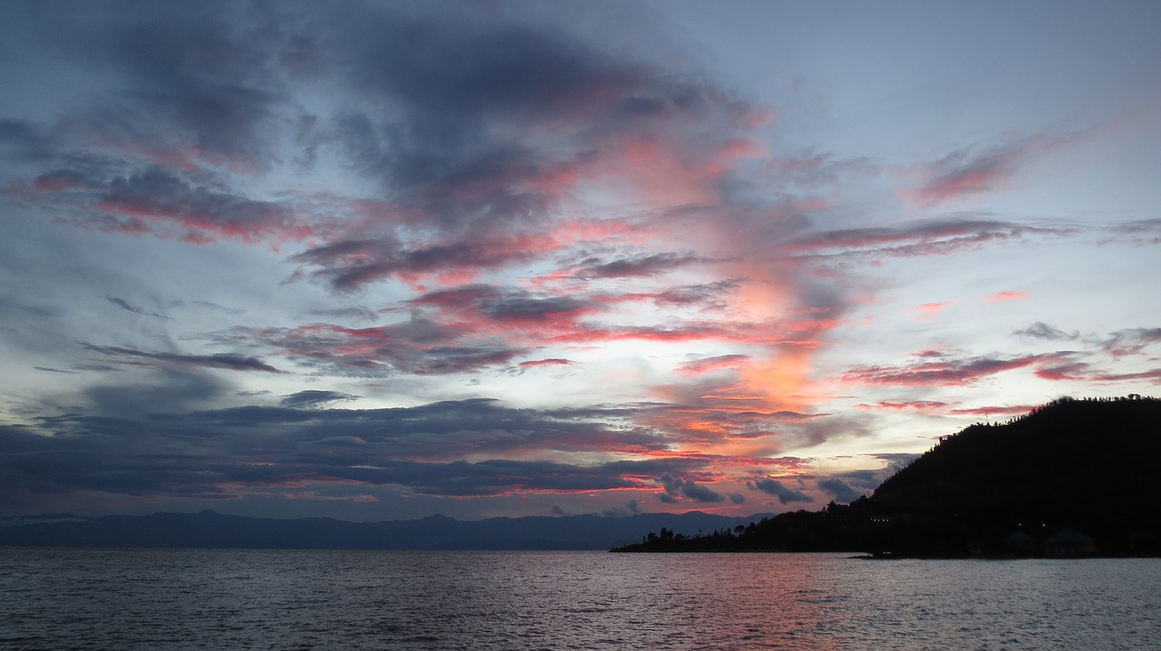 sunset  lake  kivu free photo