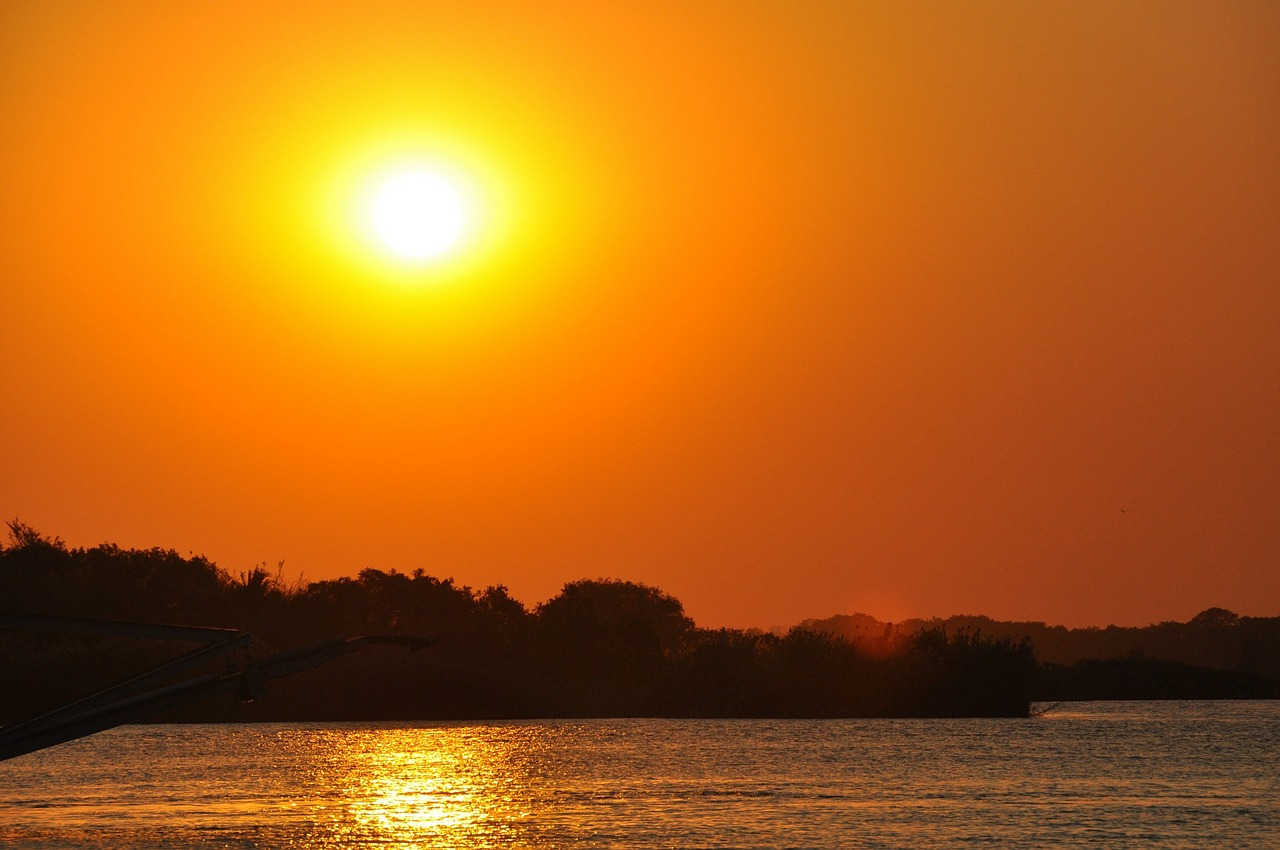 sunset zambezi river zimbabwe free photo