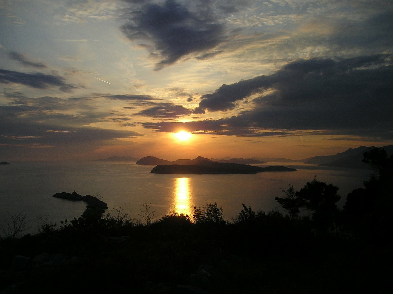 sunset croatia sea free photo