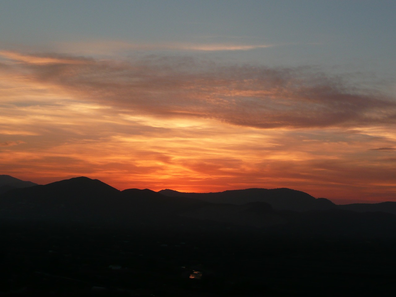 sunset spain monte pego free photo