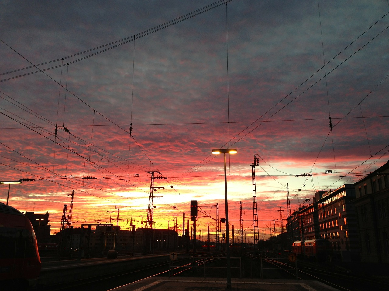 sunset clouds railway station free photo