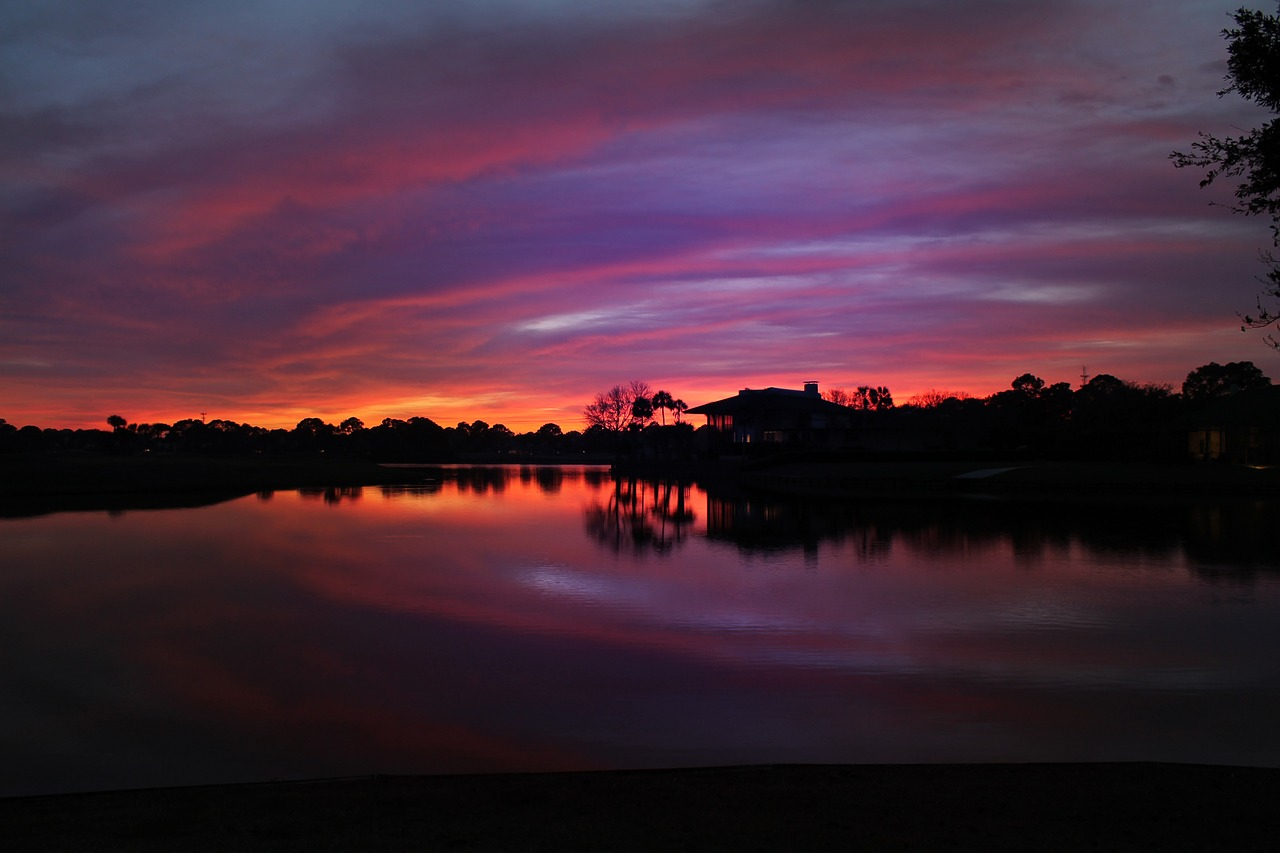 sunset over the golf course,ponte vedra beach,florida,colors,water,free pictures, free photos, free images, royalty free, free illustrations