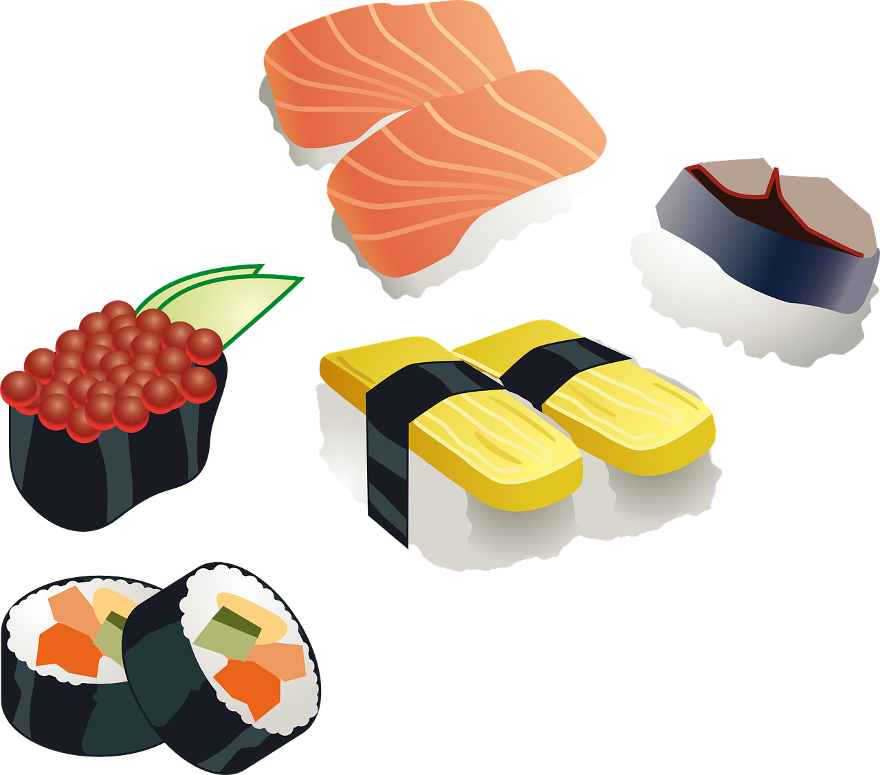 sushi,sushi roll,japanese,food,sea food,fish,rice,vinegared,seafood,oriental,cuisine,eat,wrap,fruits,free vector graphics,free pictures, free photos, free images, royalty free, free illustrations, public domain