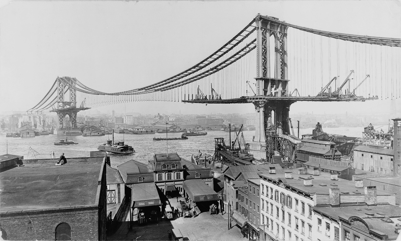suspension bridge manhattan bridge construction free photo
