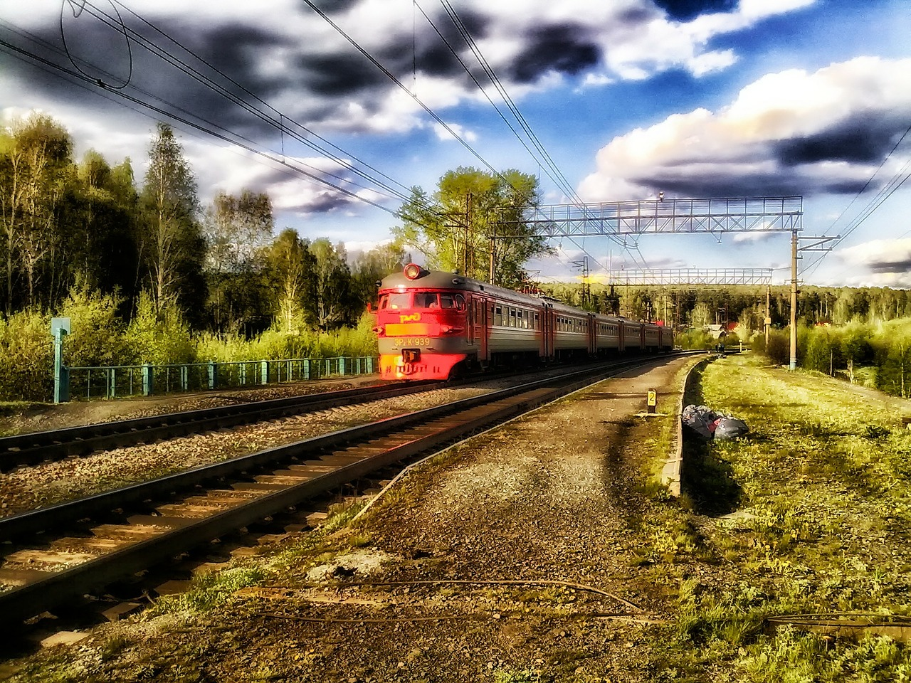 sverdlovsk,russia,train,transportation,travel,rail,railroad,track,tracks,hdr,sky,clouds,landscape,scenic,trees,nature,outside,summer,spring,country,countryside,free pictures, free photos, free images, royalty free, free illustrations, public domain