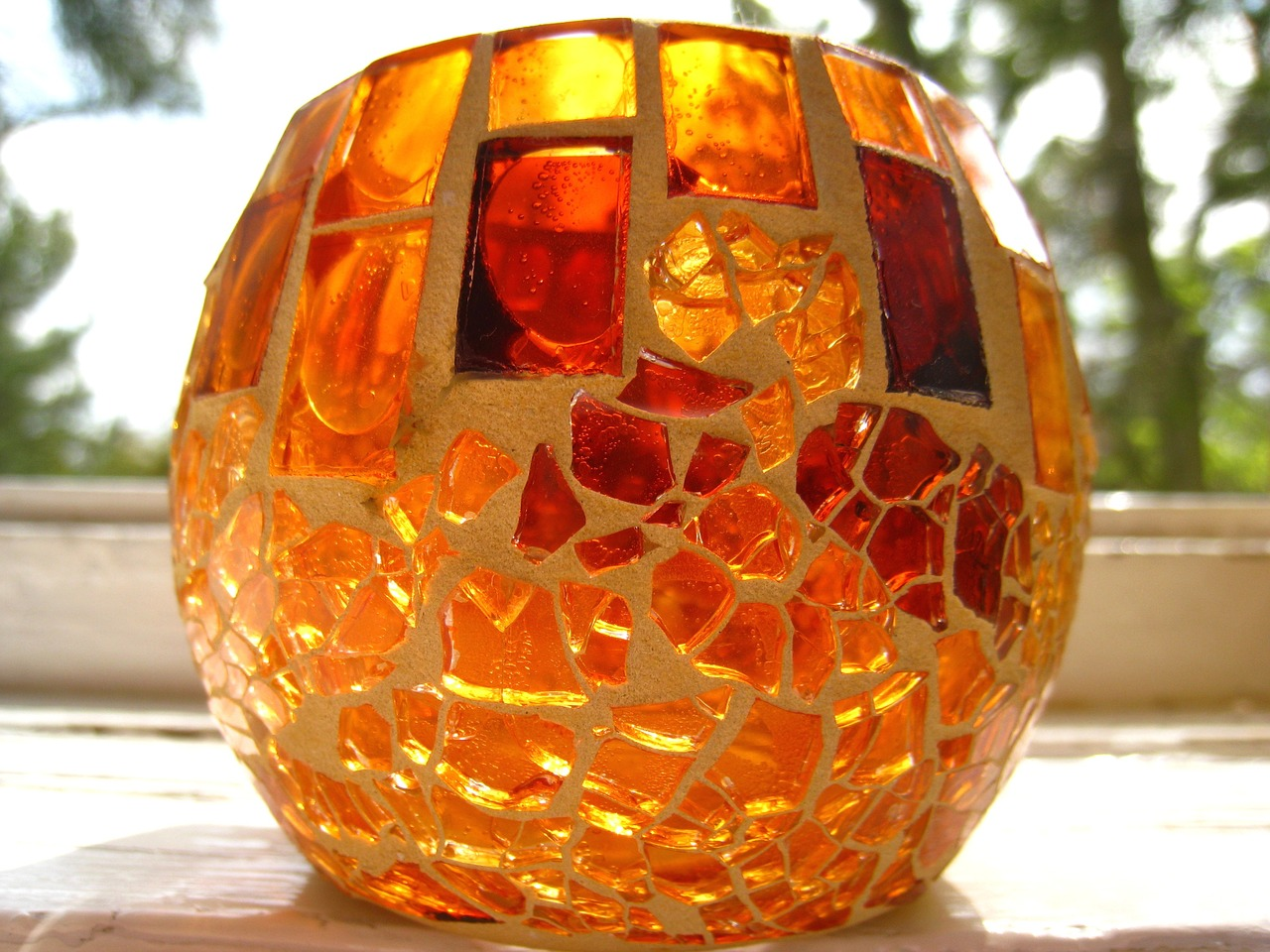 tealight mosaic tealight candle free photo
