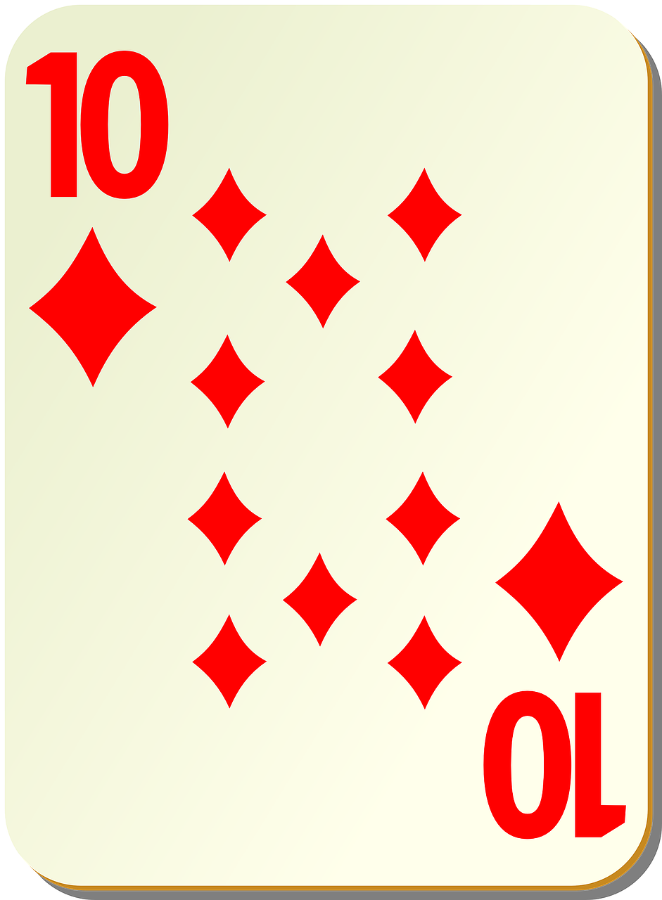 ten diamonds playing cards free photo