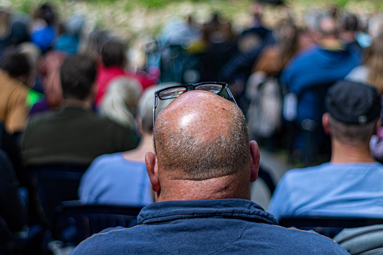 the balding  neck  the audience free photo