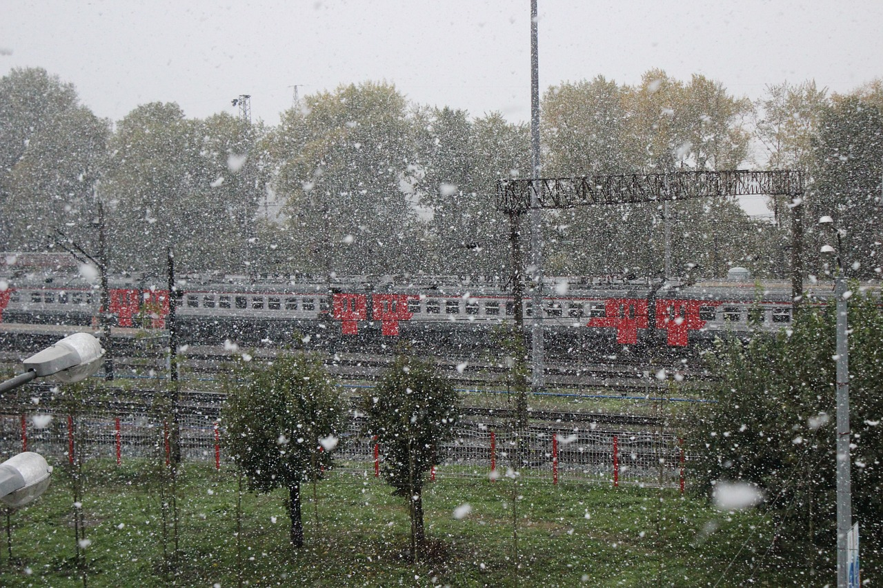 the first snow railway autumn free photo