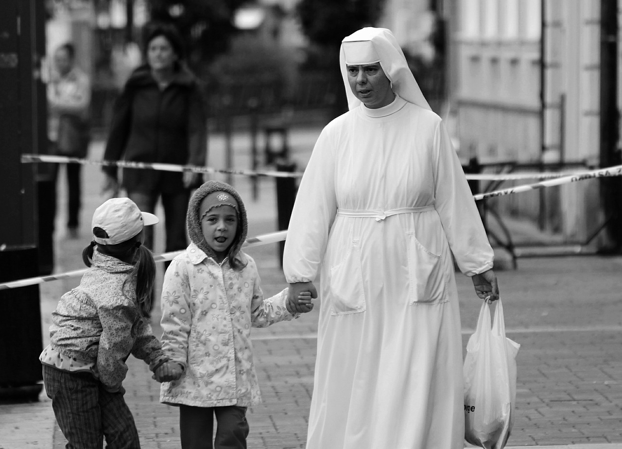 the nun,children,laughter,people,free pictures, free photos, free images, royalty free, free illustrations, public domain