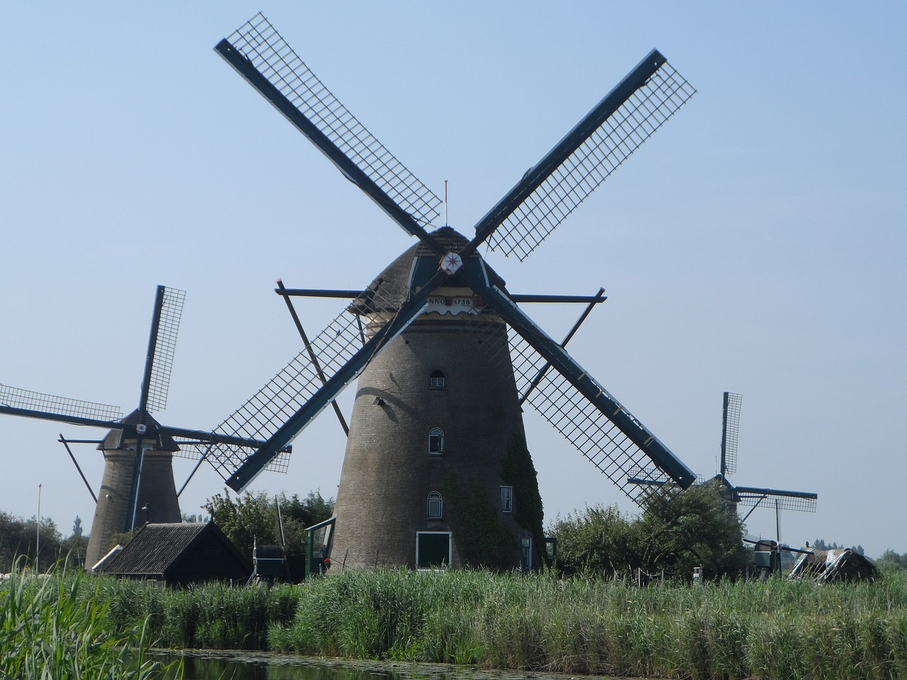 the windmills netherlands landscape free photo