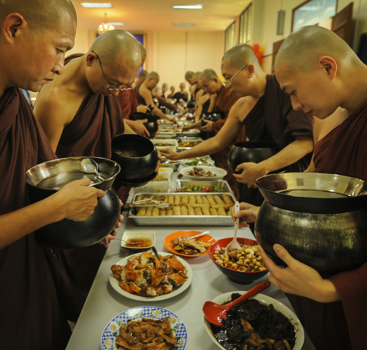 theravada buddhism monks having lunch monks and alms food free photo