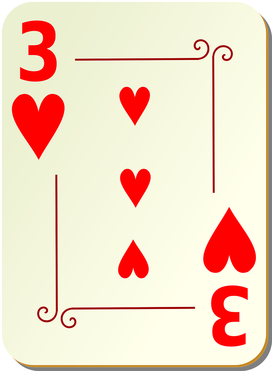 three hearts playing cards free photo