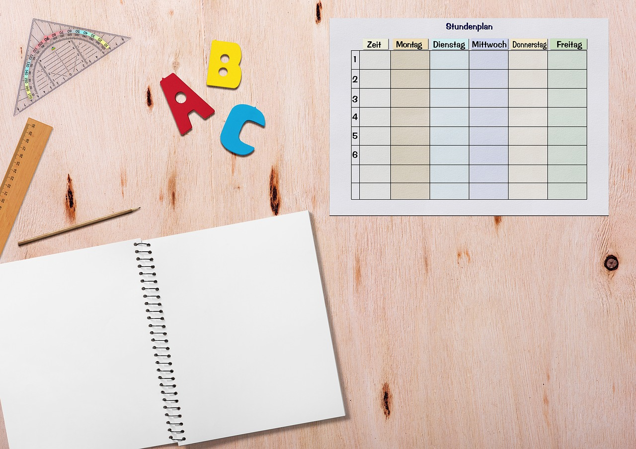 timetable notebook table free photo