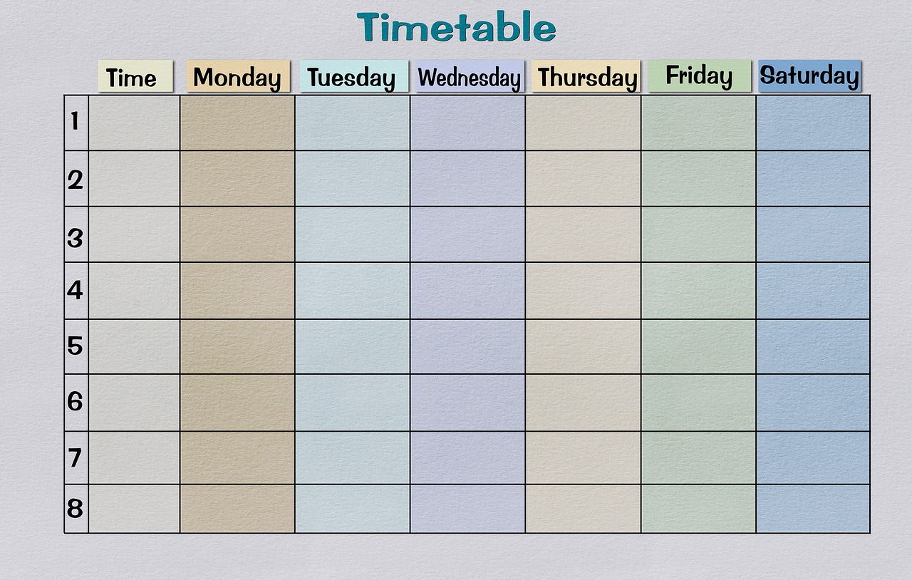 timetable paper print template free photo