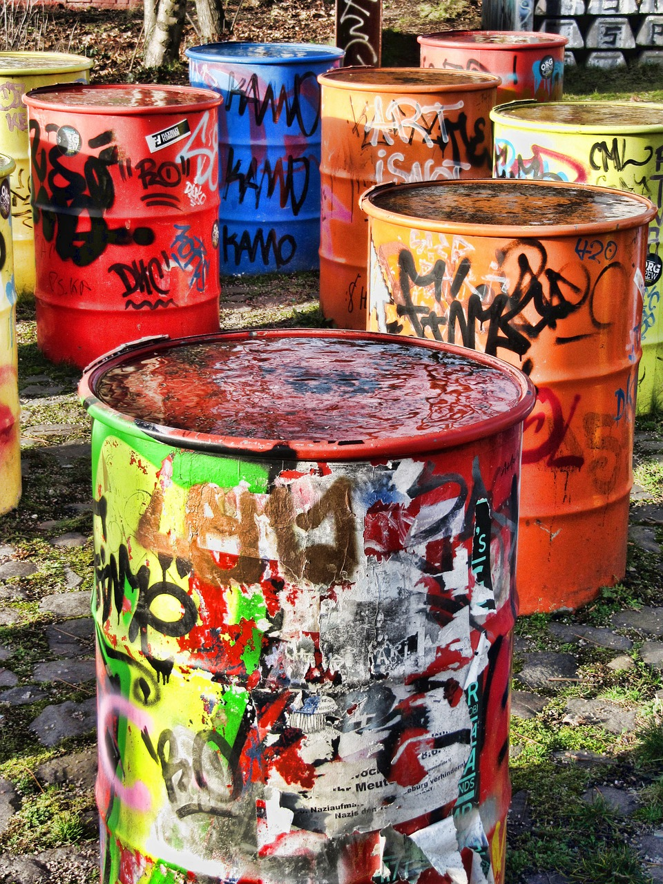tons colorful container free photo
