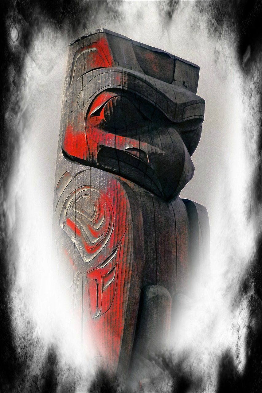totem pole computer graphic textured free photo