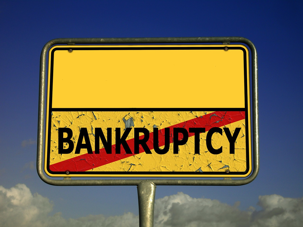 town sign bankruptcy insolvency free photo