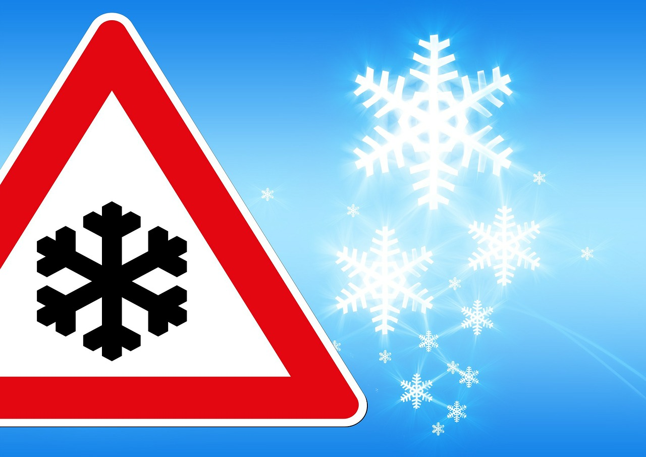 traffic sign snow winter free photo