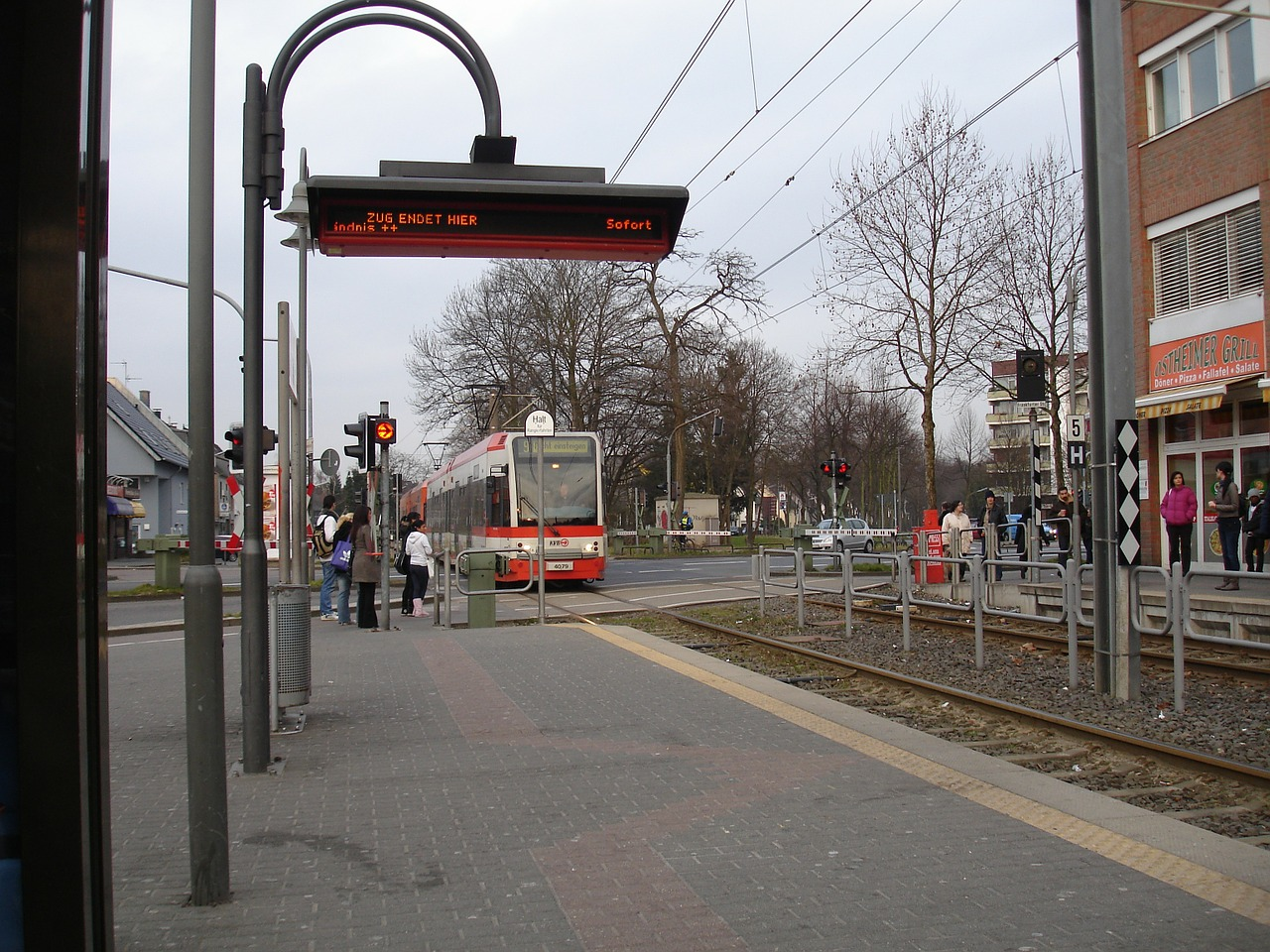 tram stop waiting time free photo