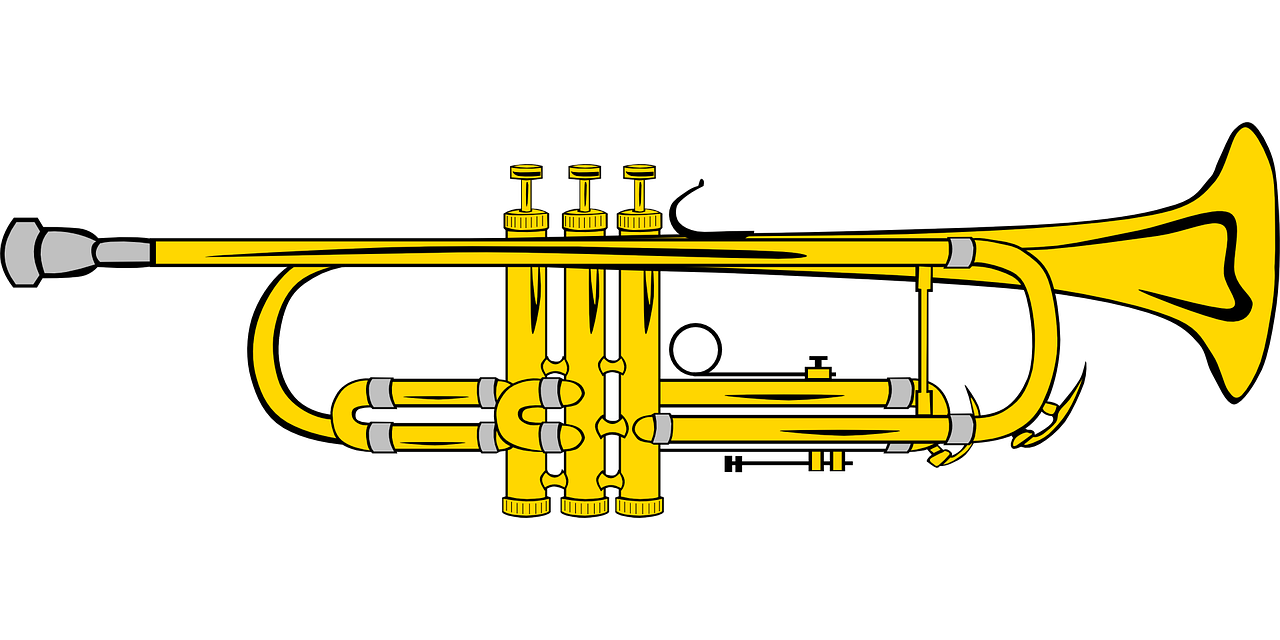 trumpet,music,instrument,pipe,blow,blowing,musician,golden,brass,valves,free vector graphics,free pictures, free photos, free images, royalty free, free illustrations, public domain