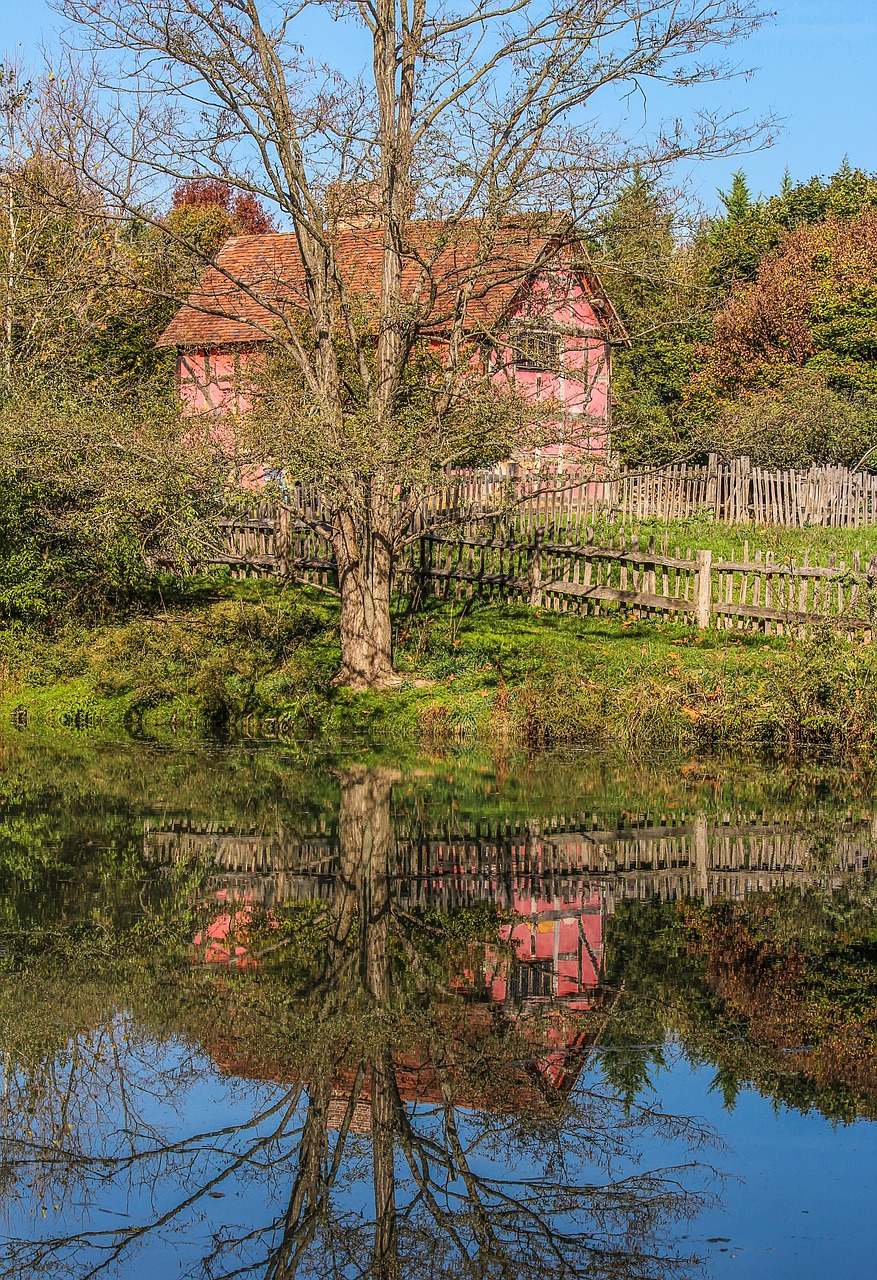 tudor style house museum pond free photo