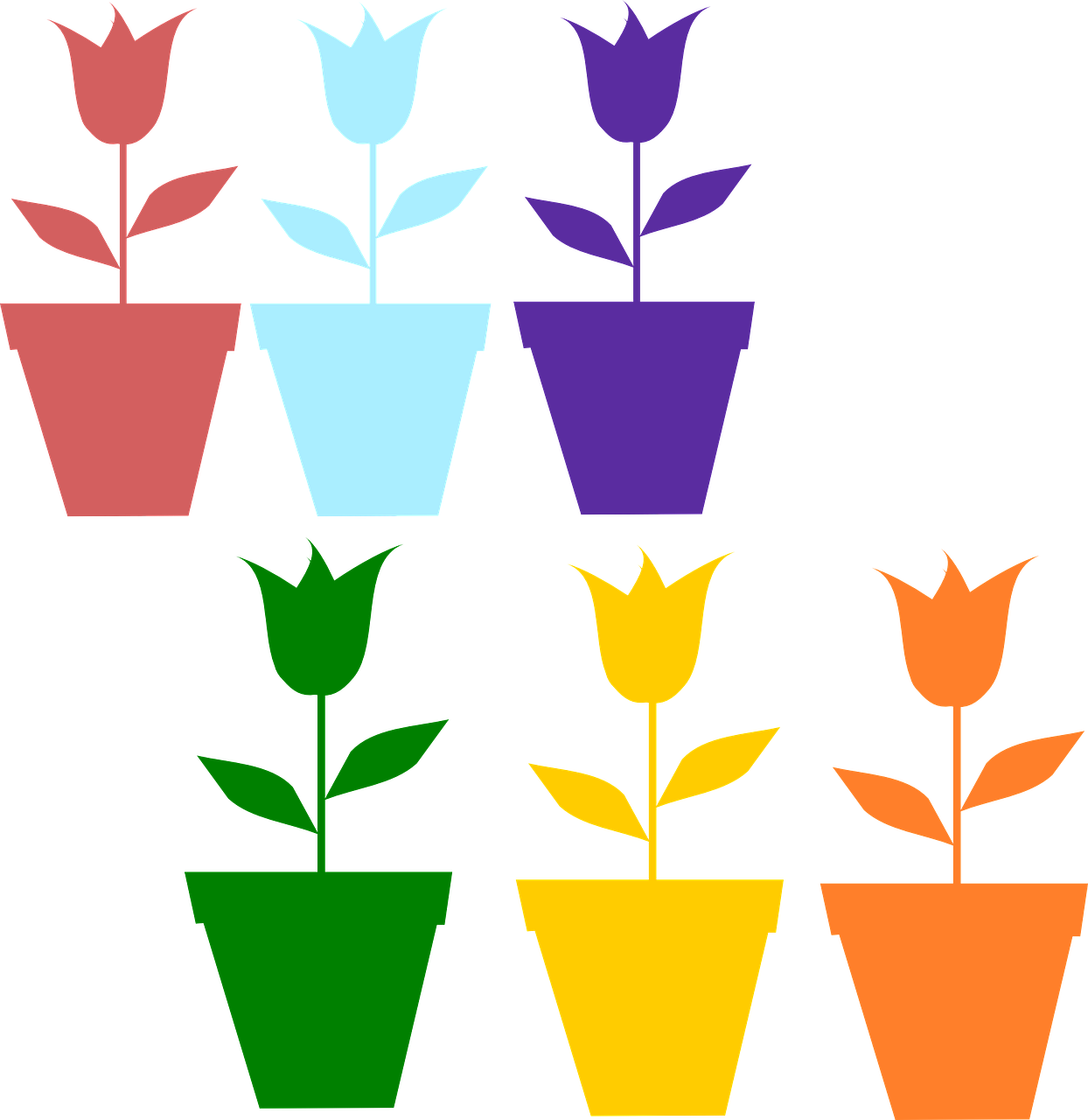 tulips,flowers,pots,green,blue,yellow,purple,pink,orange,silhouette,springtime,april,may,free vector graphics,free pictures, free photos, free images, royalty free, free illustrations, public domain