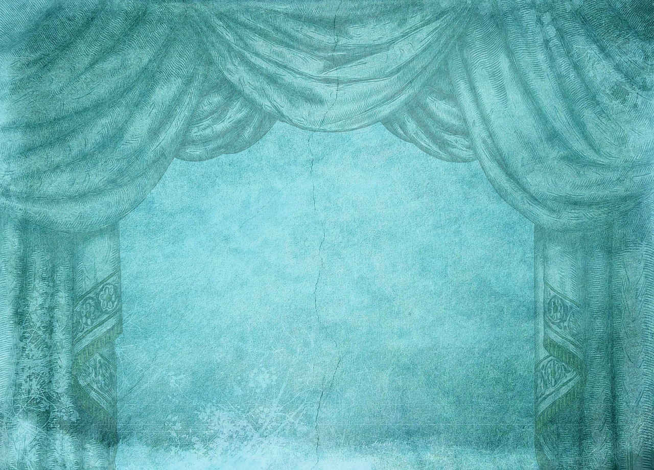 turquoise stage stage curtain free photo
