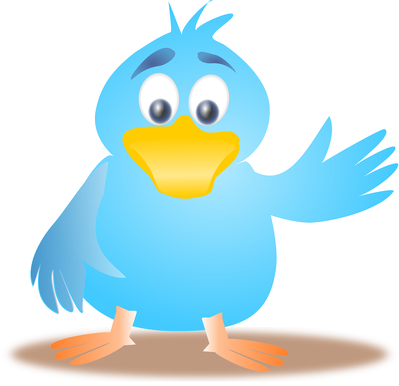 twitter,bird,tweet,waving,happy,blue,free vector graphics,free pictures, free photos, free images, royalty free, free illustrations, public domain