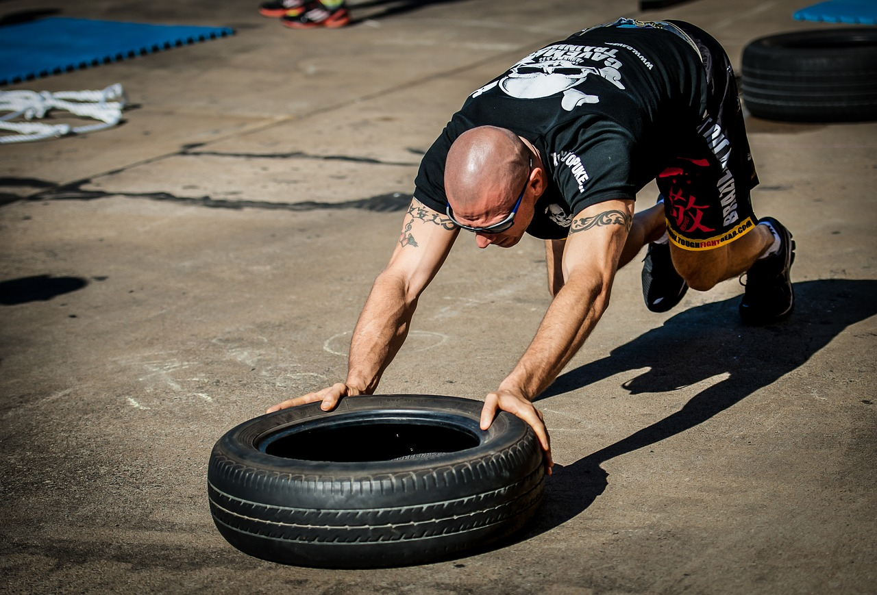 tyre push tyre workout training free photo