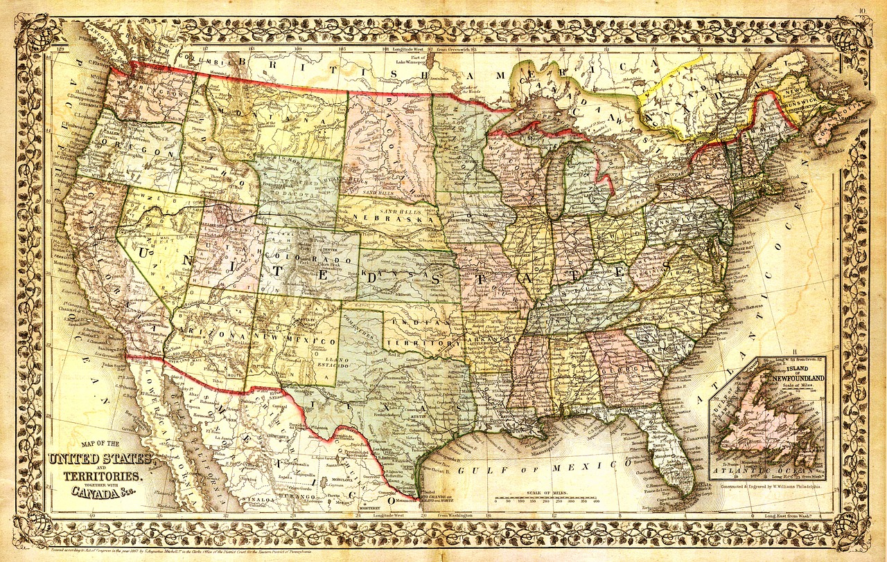 United states map,north america map,map,old map,antique map - free ...