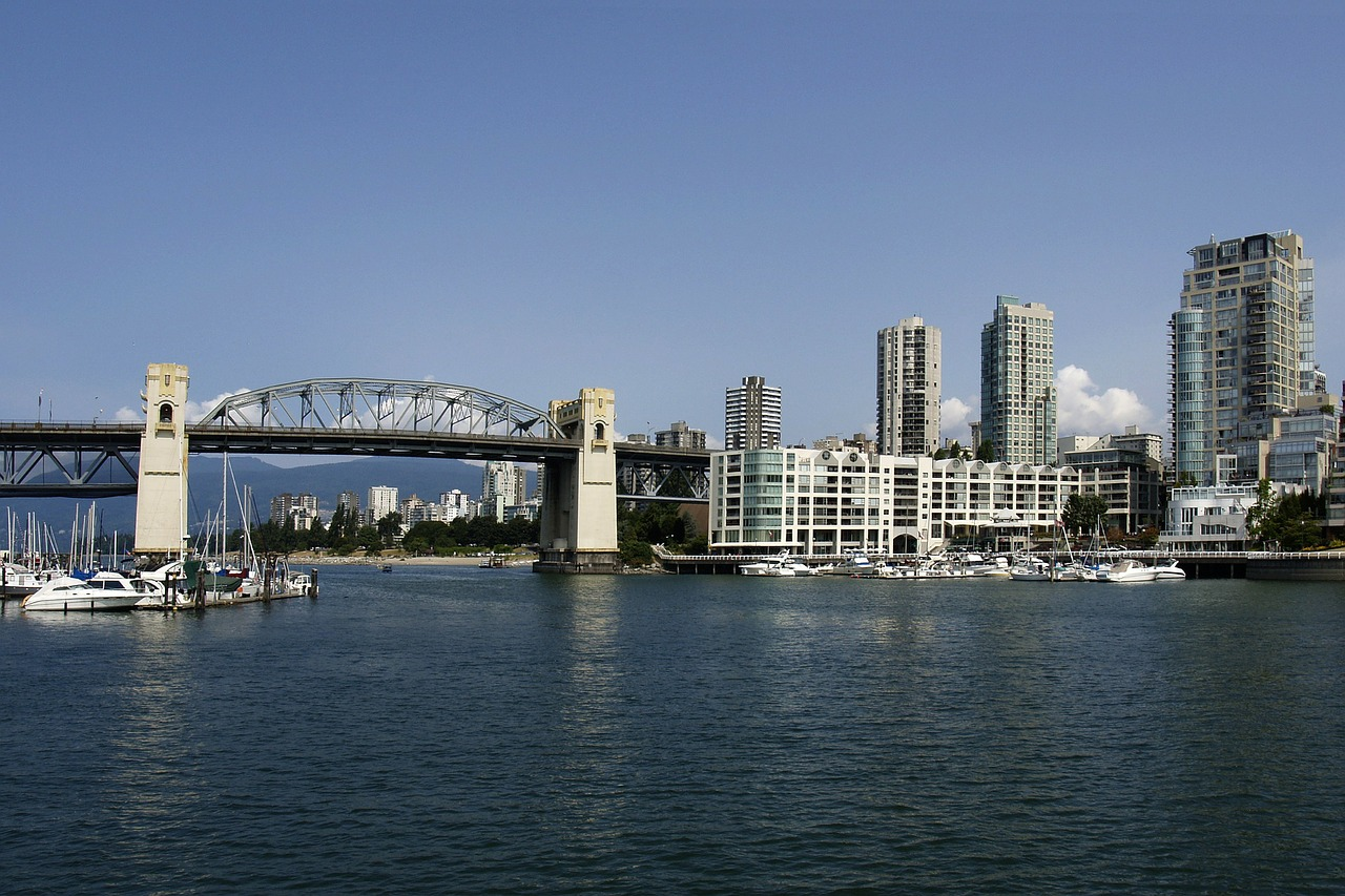 vehicular bridge burrard street bridge old bridge free photo