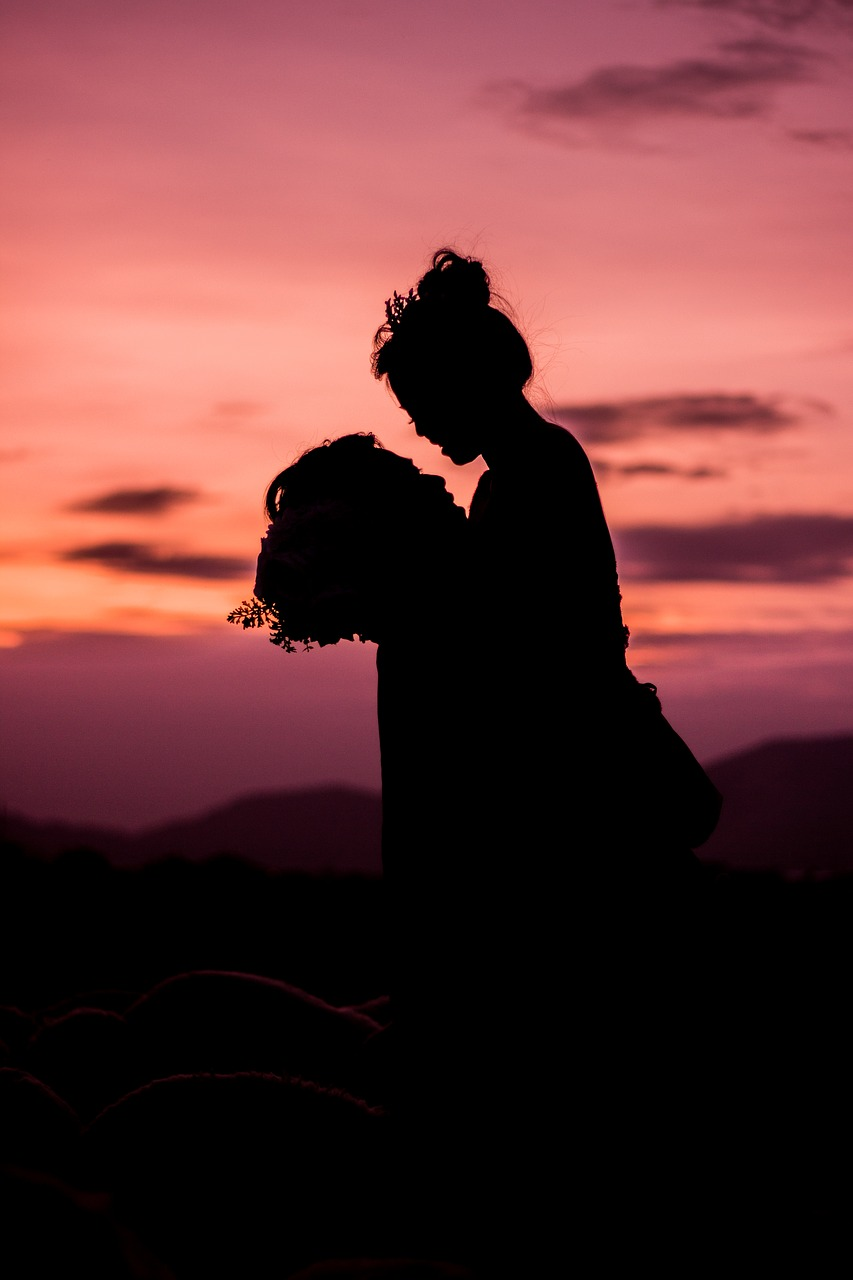 sunset,the sea,those,silhouette,weak,coupple,together,a hug,vietnam,free pictures, free photos, free images, royalty free, free illustrations