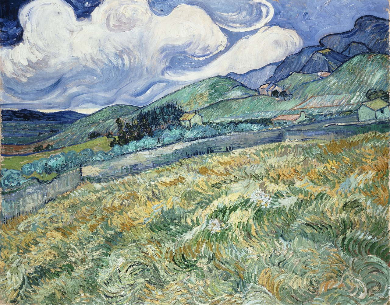 vincent van gogh mountains houses free photo