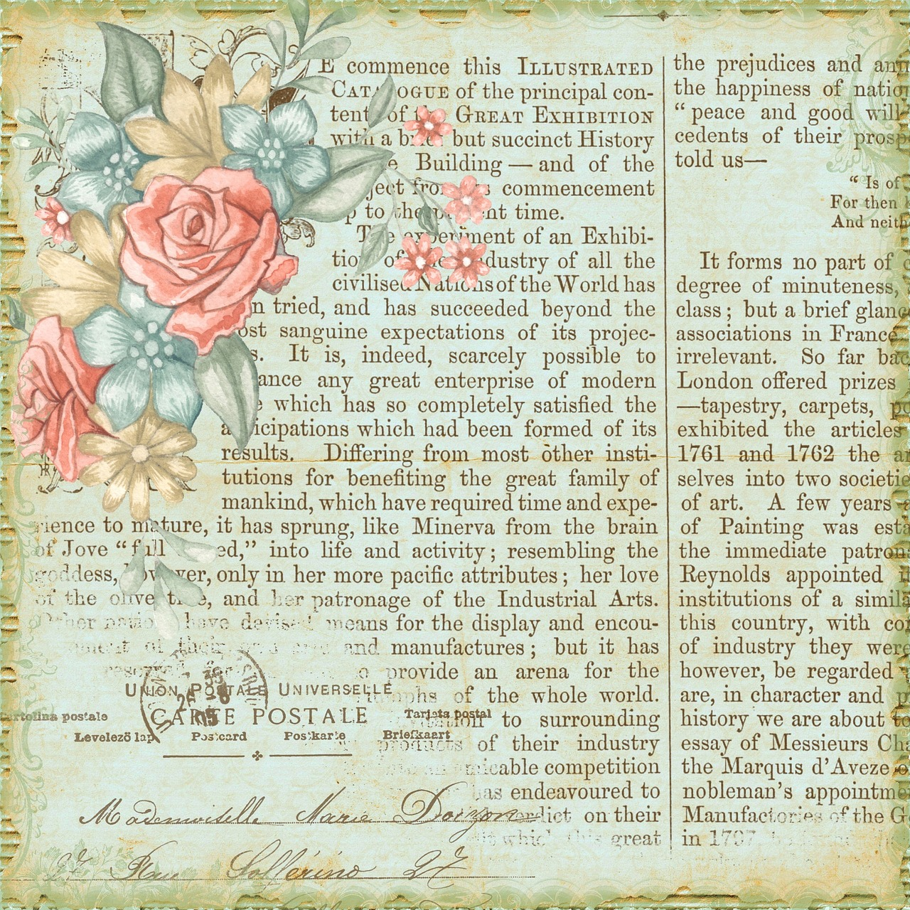 Vintage Floral Background Paper Calligraphy Free Image From