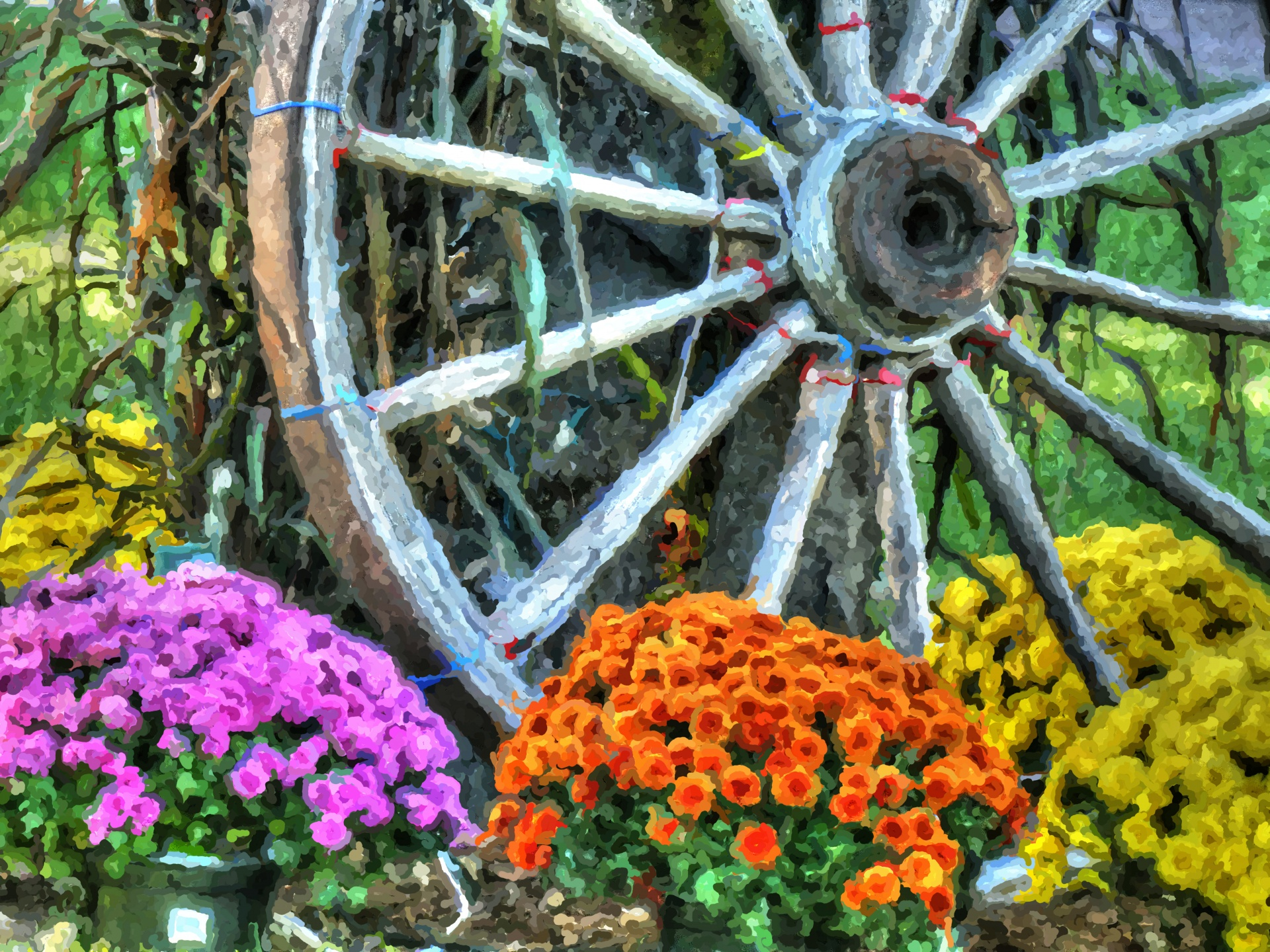 Download Free Photo Of Wagon Wheel Wheel Flowers Garden Impressionist From Needpix Com