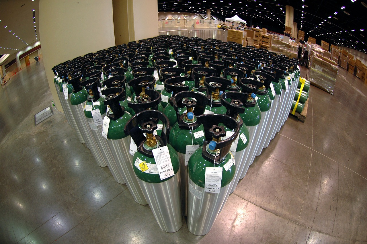 warehouse oxygen canisters free photo
