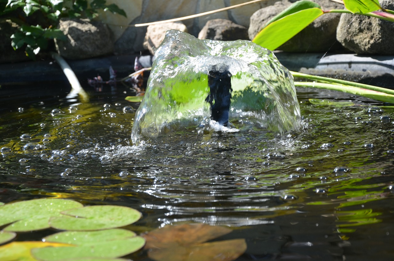 Image result for water fountain on fish pond