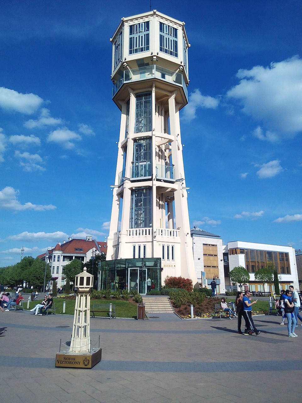 water tower main square in siofok summer free photo
