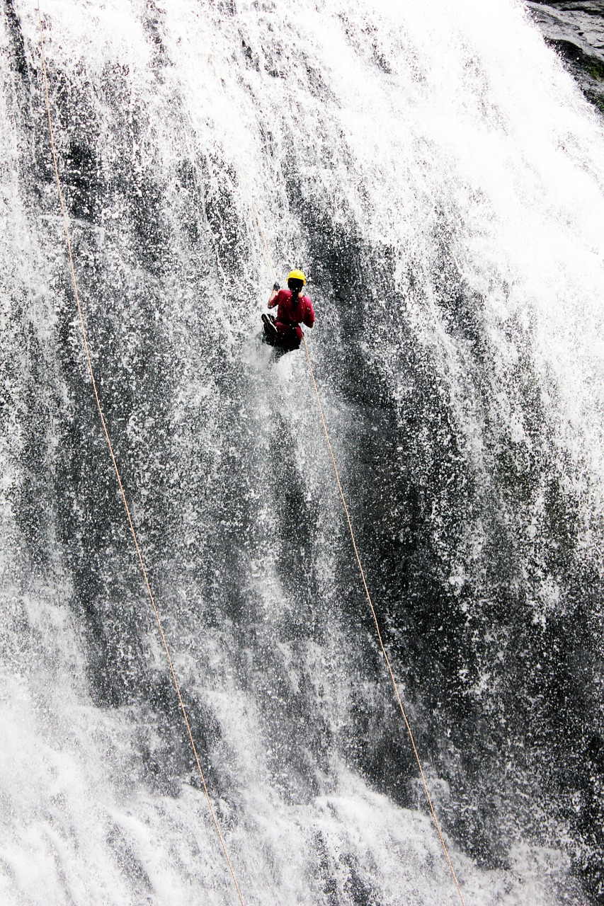waterfall man climbing free picture