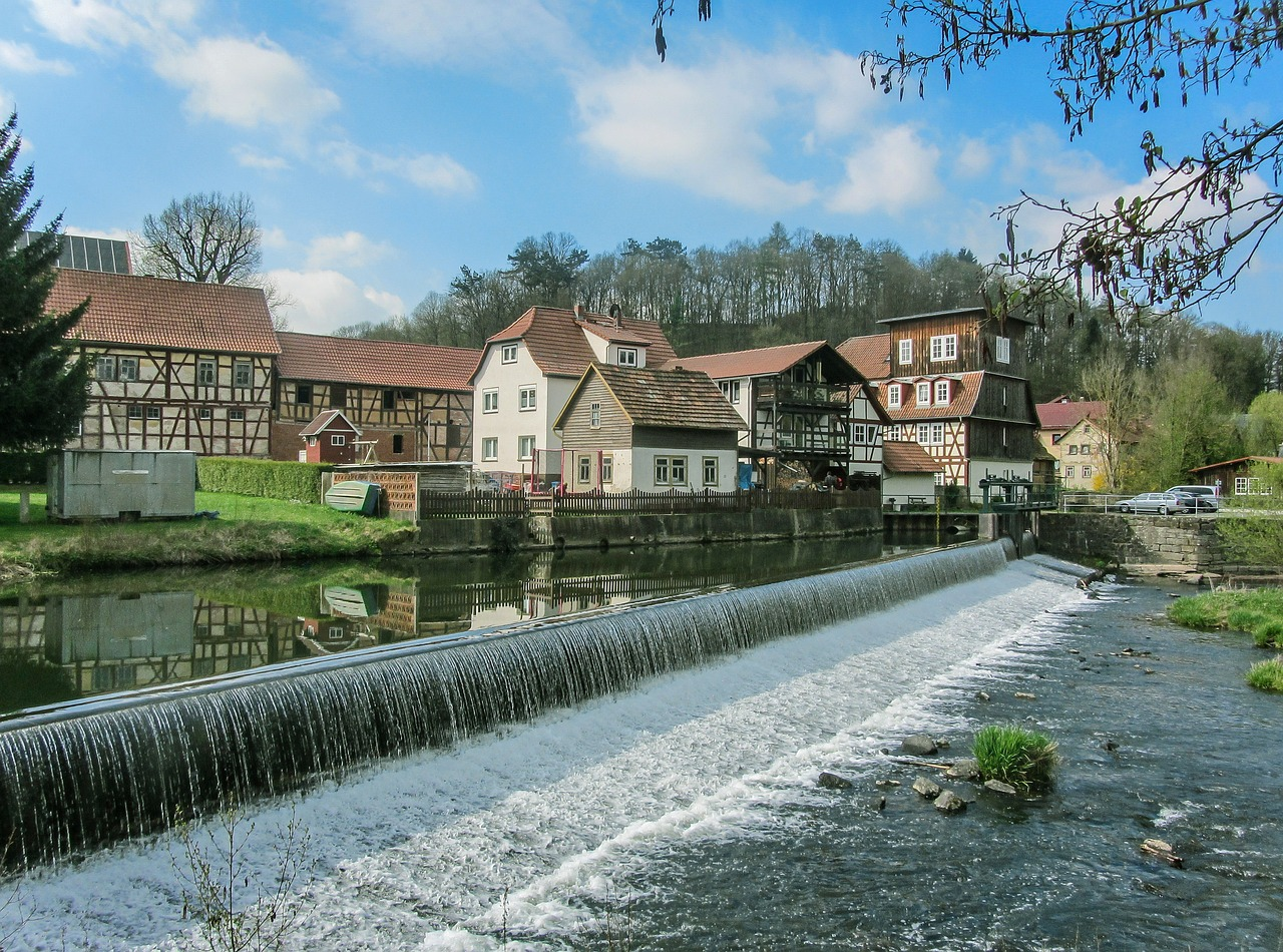 weir water thuringia germany free photo