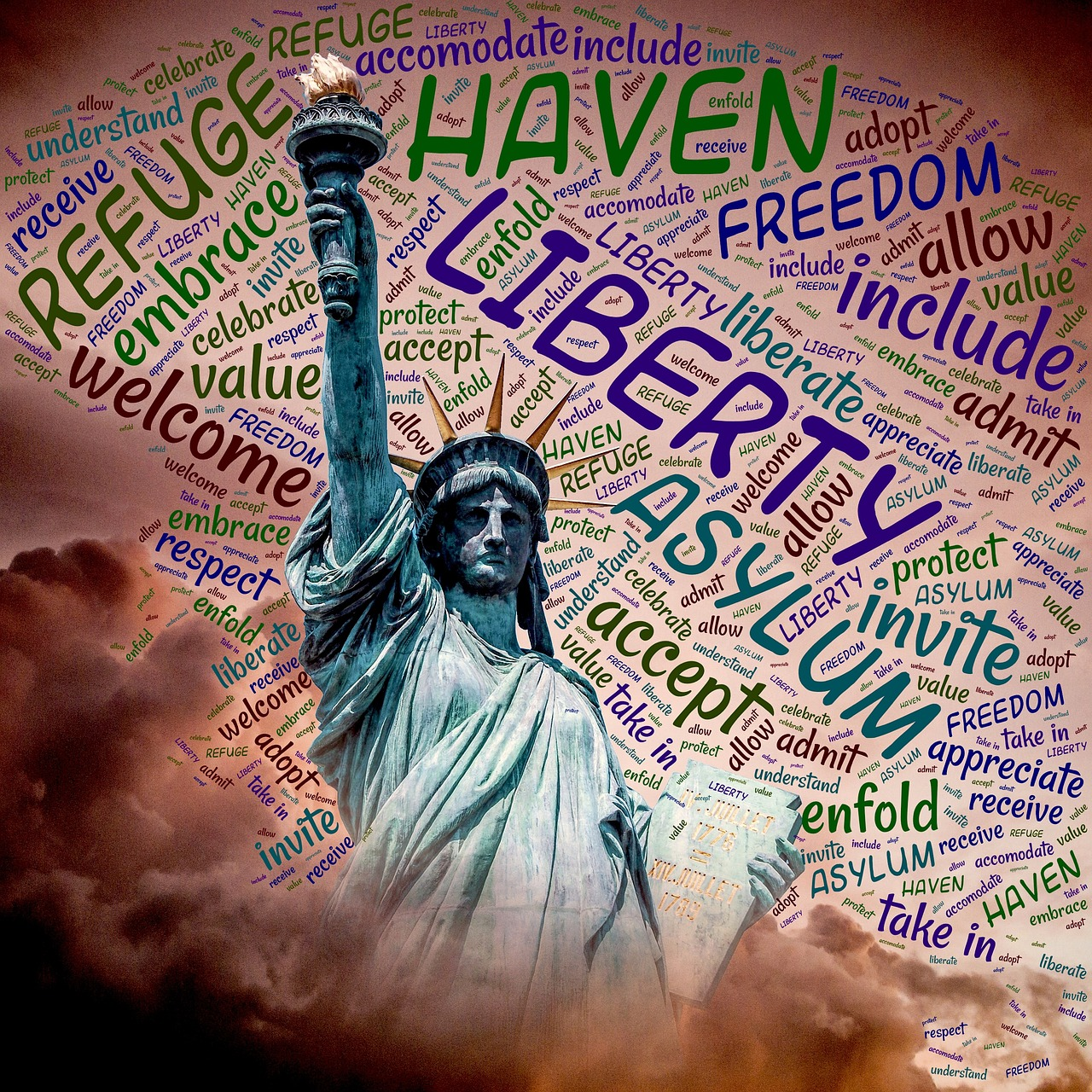 welcome,liberty,include,america,statue,symbol,monument,freedom,invite,accept,immigration,embrace,usa,travel,refuge,refugees,displaced,haven,asylum,free pictures, free photos, free images, royalty free, free illustrations, public domain