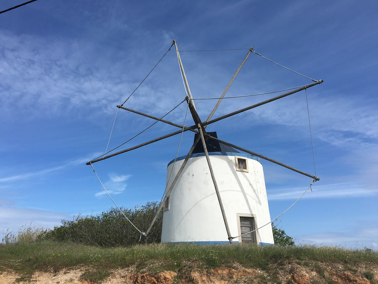 windmill portugal coastal path free photo