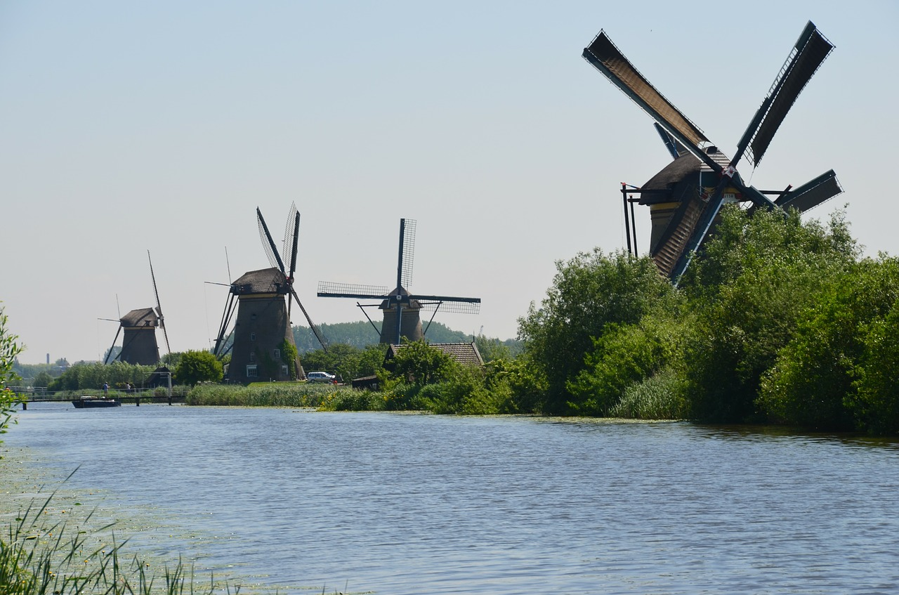 windmills holland canals free photo