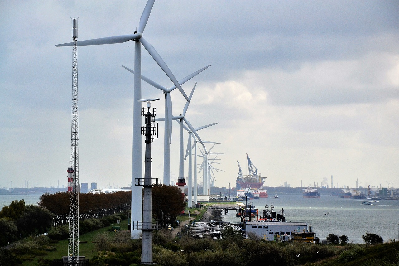 windmills energy rotterdam free photo