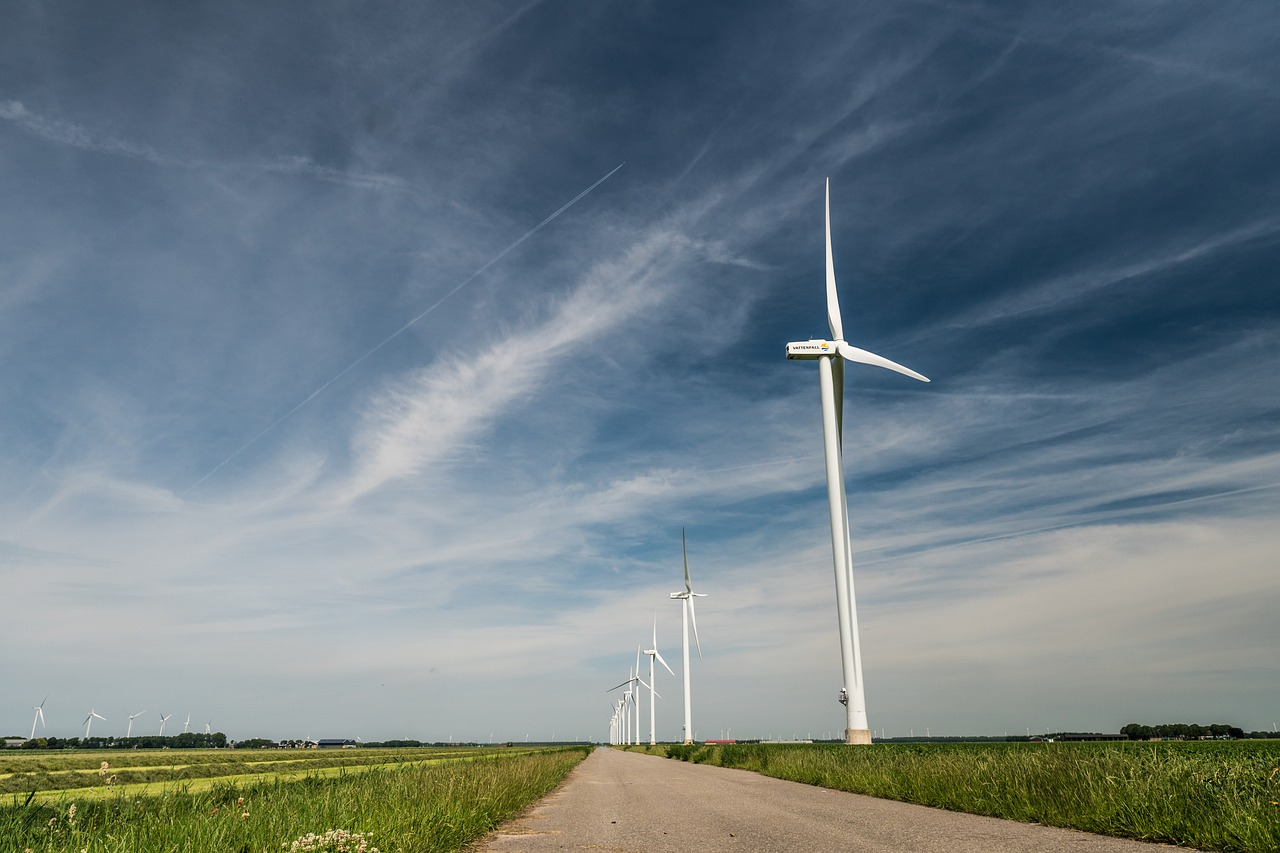 windmills  path  sky free photo